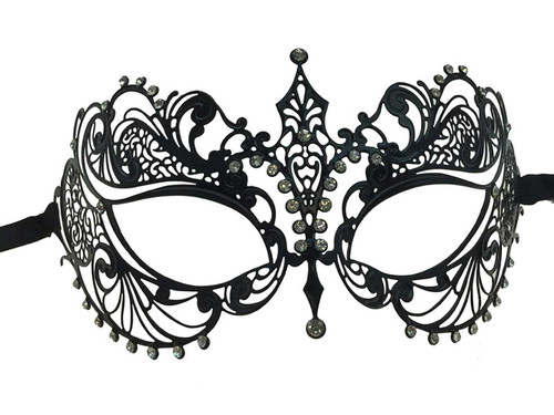Metal Lace Look Mask Small - Black