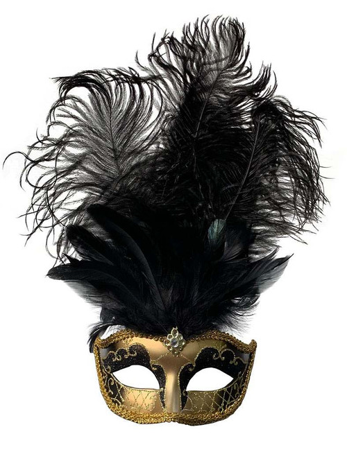 Mask with Middle Feathers - Black/Gold