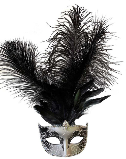 Mask with Middle Feathers - Black/Silver