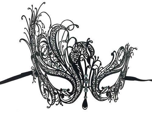 Metal Lace Look Mask High Side  - Black