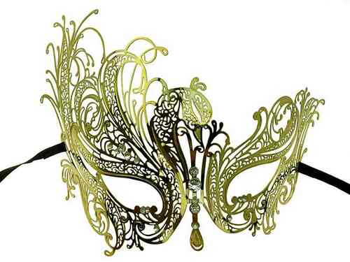 Metal Lace Look Mask High Side - Gold