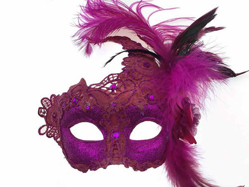 Mask with Side Feather - Pink