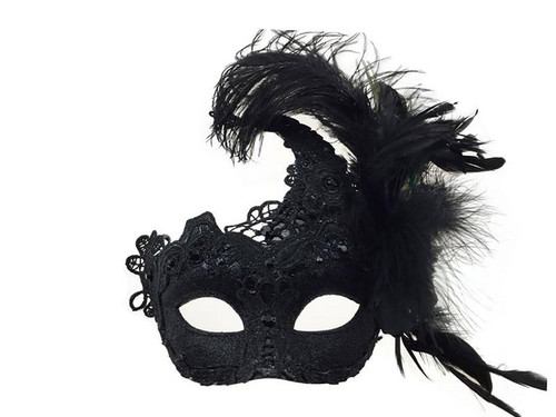 Mask with Side Feather - Black