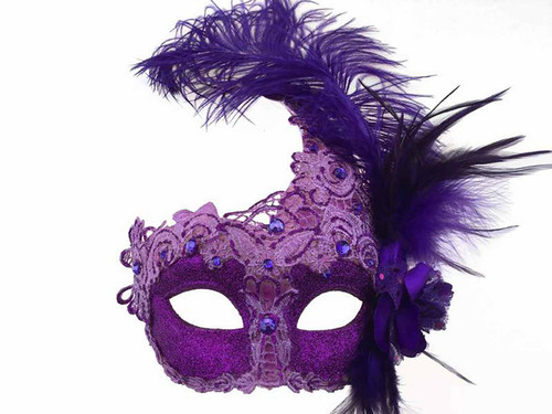 Mask with Side Feather - Purple