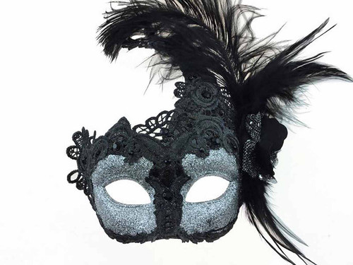 Mask with Side Feather - Silver