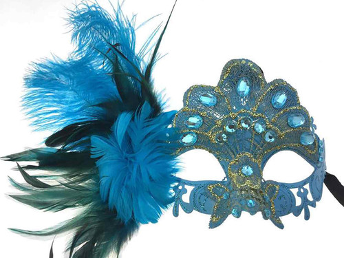Lace Rhinestone Mask Ostrich Feather on side - Sky Blue