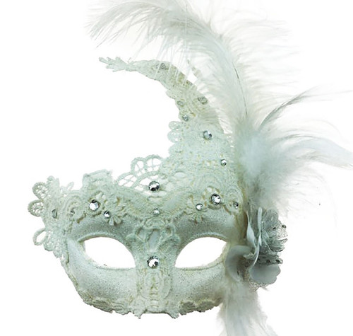 Mask with Side Feather - White