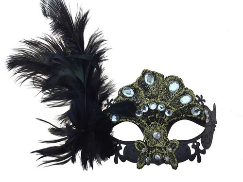 Lace Rhinestone Mask Ostrich Feather on side - Black
