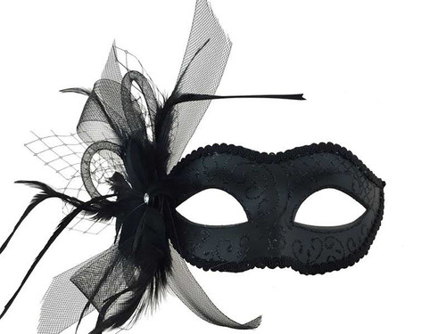 Mask with feather and Veil - Black