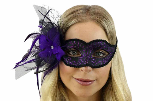 Mask with feather and Veil - Purple