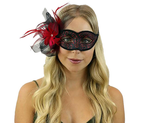 Mask with Feather and Veil - Red