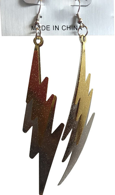 80s Silver/Gold Lightning Earrings