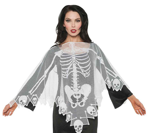 Skeleton Lace Poncho Costume
