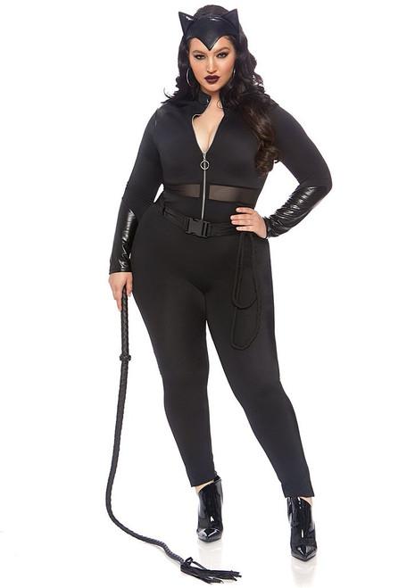 Sultry Supervillain Cat Suit Plus Woman Costume