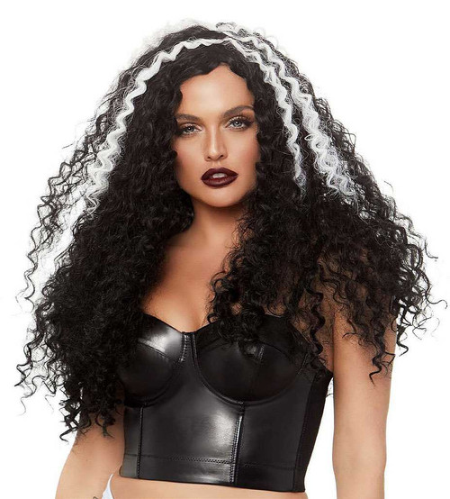 Long Curly Black and White Wig 29""