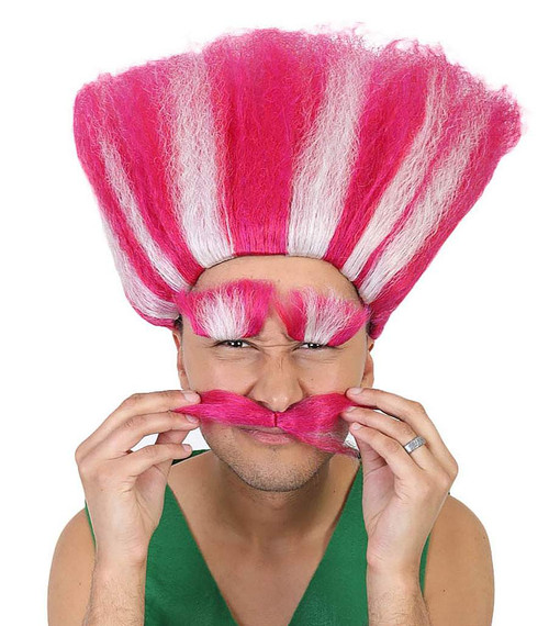 King Troll Deluxe Wig - Pink/White