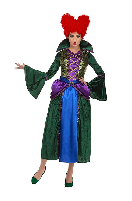 Bossy Witch Woman Costume with Red Wig