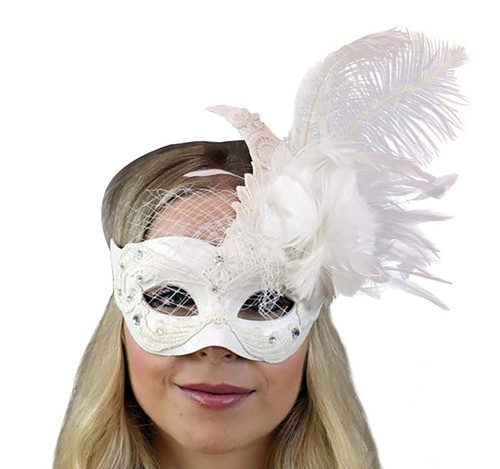 Masquerade White Mask with Feather and Veil