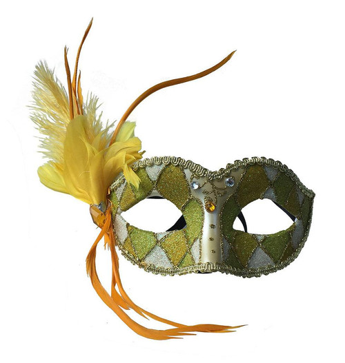 Venetian Style Mask with Feathers Pastel Yellow