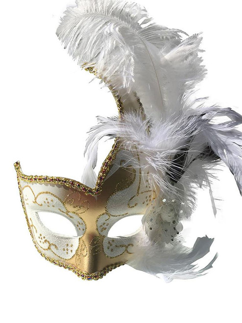 Venetian Mask with Feather White and Gold