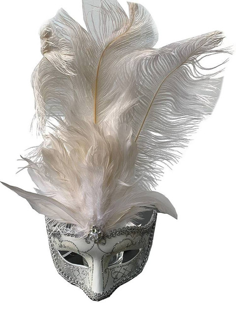 Mask with Middle Feathers - White