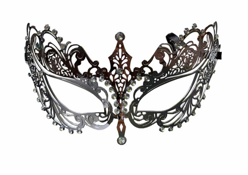 Metal Lace Look Mask Small - Silver