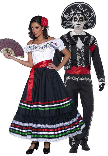 Day of the Dead Dancing Senor Bones Couple Costume