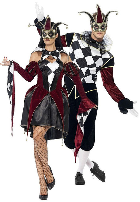 Gothic Venetian Harlequin Couple Costume