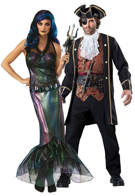 Queen of the Dark Seas and Pirate Captain Couple Costume
