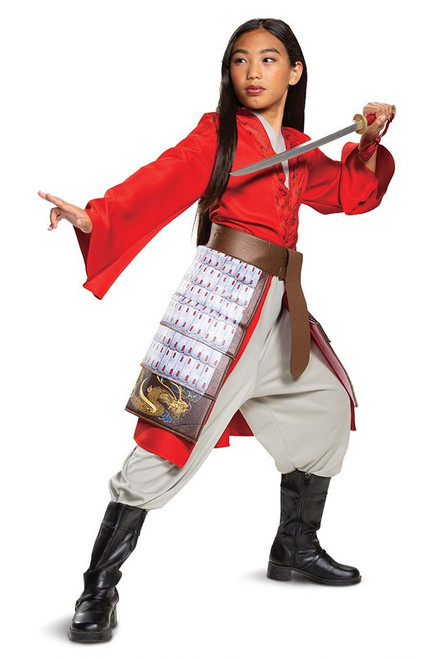Mulan Hero Red Girls Costume