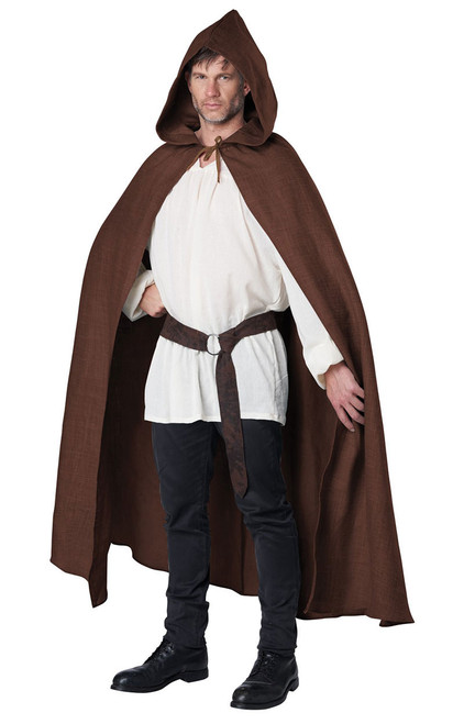 Brown Hooded Cloak Costume for Men