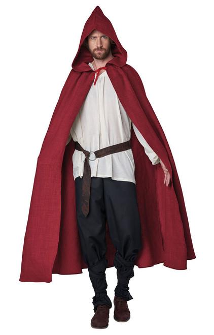 Red Hooded Cloak Mens Costume