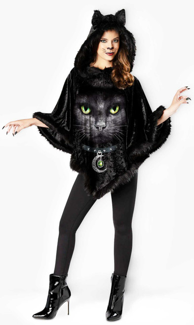 Hooded Cat Poncho Costume for Women
