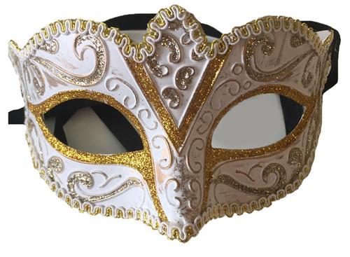 white glitter mask with trim