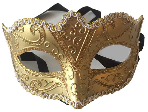 gold glitter mask with trim