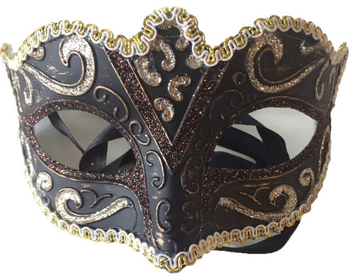 brown glitter mask with trim