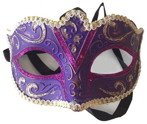 purple glitter mask with trim