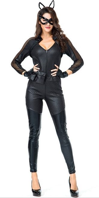 cat woman jumpsuit leatherlike