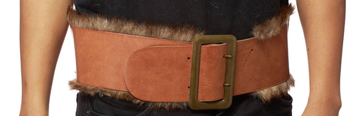 Leatherlike viking belt with faux fur