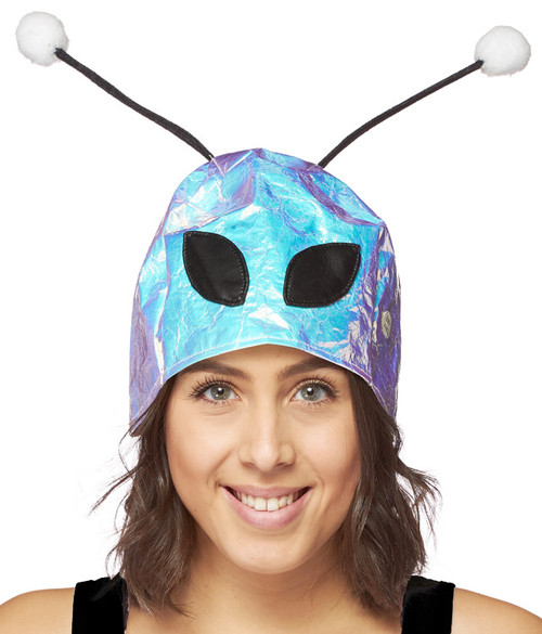 Alien headpiece holographic with see through eyes