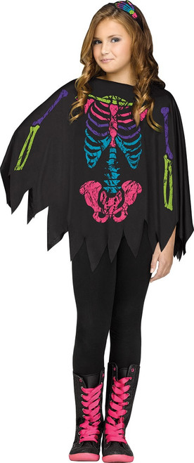 Color Bones Poncho Costume for Girls