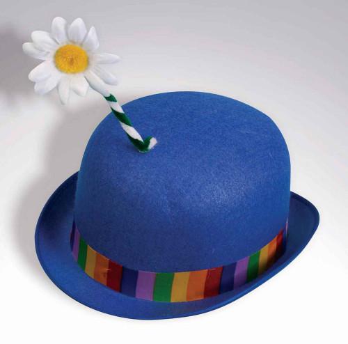 Clown Blue Derby Hat with Flower