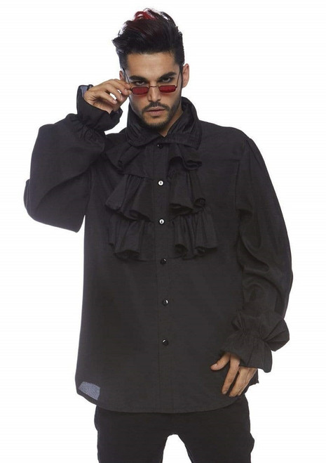 Ruffled Black Shirt for Men