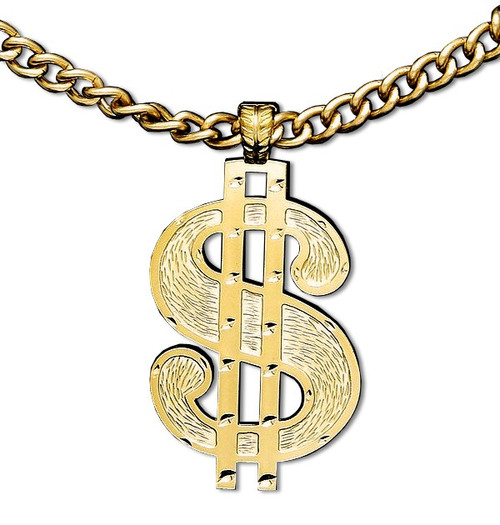 Dollar Sign Pendant Necklace in Gold color