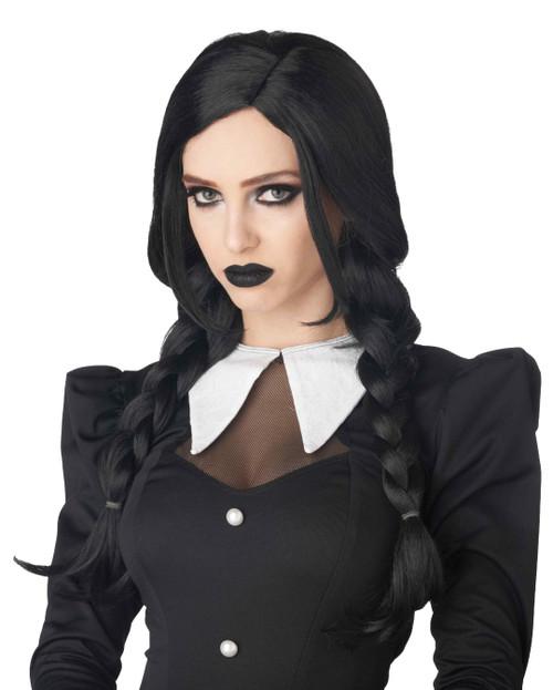 Gothic Dark Braids Wednesday Black Wig