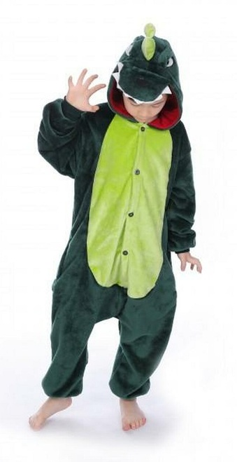 Green Dinosaur Kid Onesie Costume