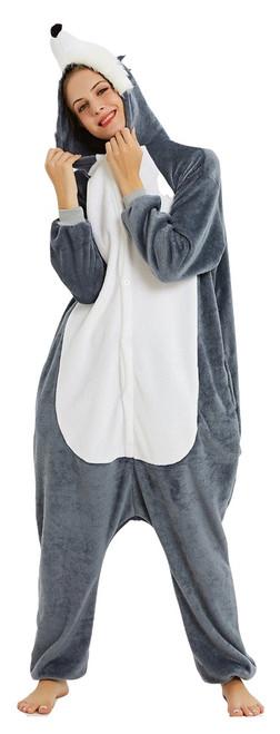 Dark Grey Husky Onesie Adult Costume