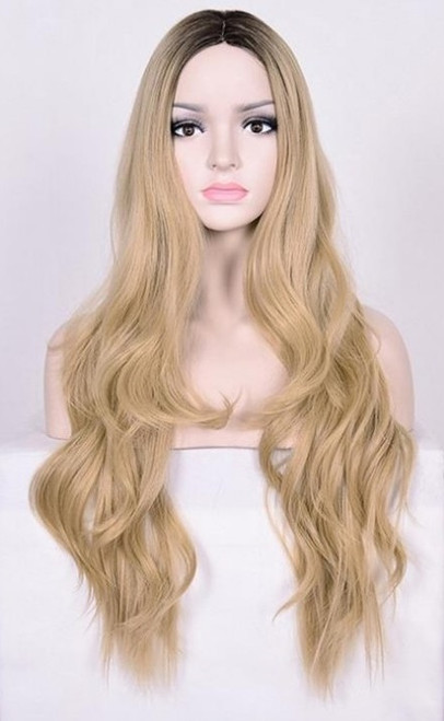 Long Blond Model Woman Wig Front