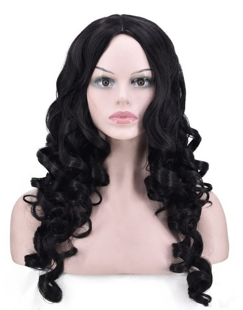 Black Long Wavy Woman Wig Front