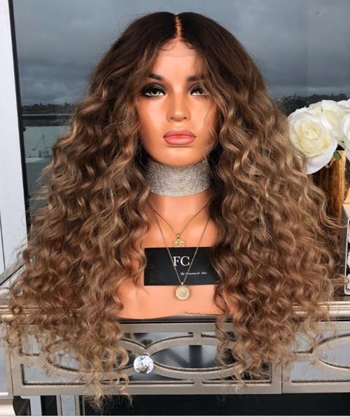 Light Brown Long Wavy Woman Wig